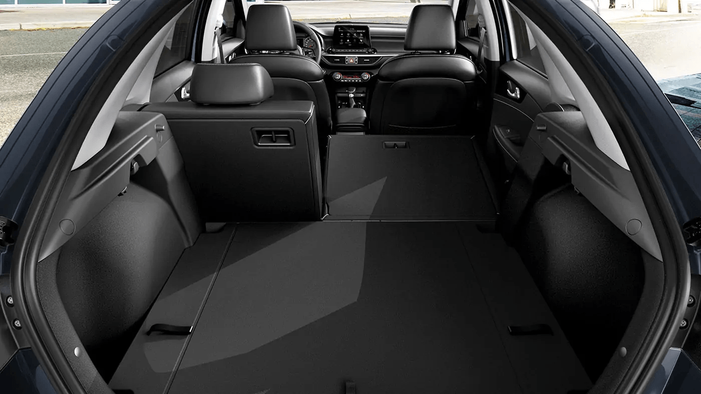 Rear of Forte5 with right rear seat folded down