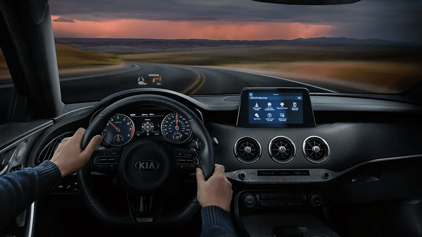 POV view of driver in a Kia Stinger